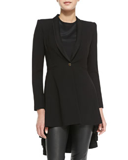 Alice + Olivia Leo Shawl-Collar High-Low Long Blazer