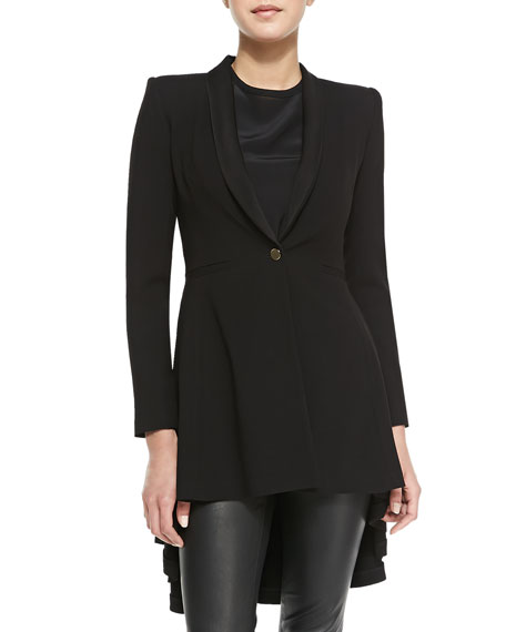 Leo Shawl-Collar High-Low Long Blazer