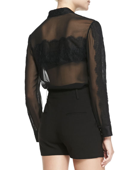 Vicka Sheer Chiffon/Lace Blouse