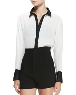 Alice + Olivia Rita Contrast-Trim French-Cuff Blouse