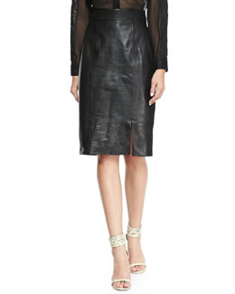 Alice + Olivia Long Leather Pencil Skirt