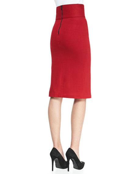 Tani Front-Slit Knit Pencil Skirt