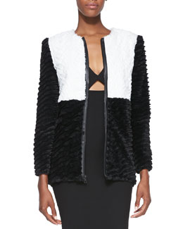 Alice + Olivia Pali Two-Tone Faux-Fur Jacket