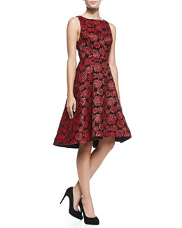 Alice + Olivia Bailey Rose-Jacquard A-Line Dress