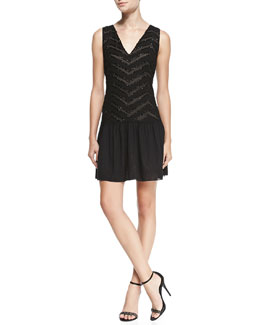 Alice + Olivia Lyla Beaded Drop-Skirt Dress