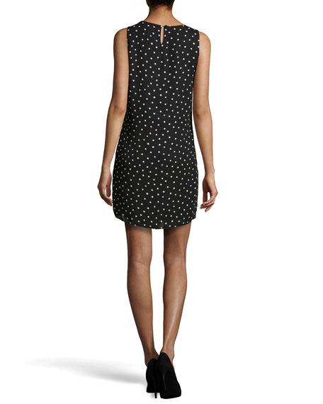 Polka-Dot Draped Shift Dress, Black/Chalk