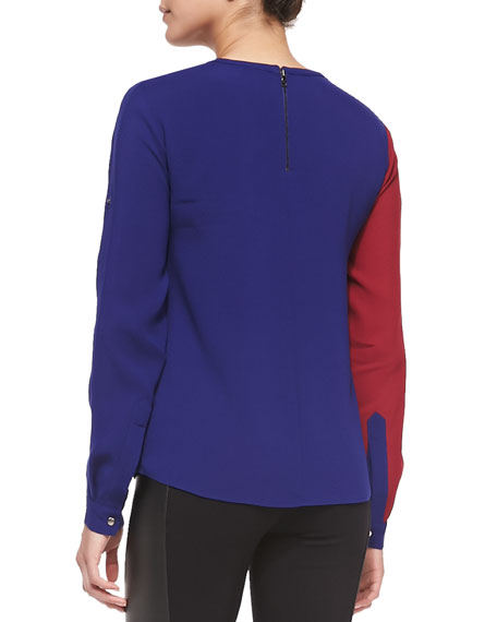 Carie Colorblock Zip-Detail Top