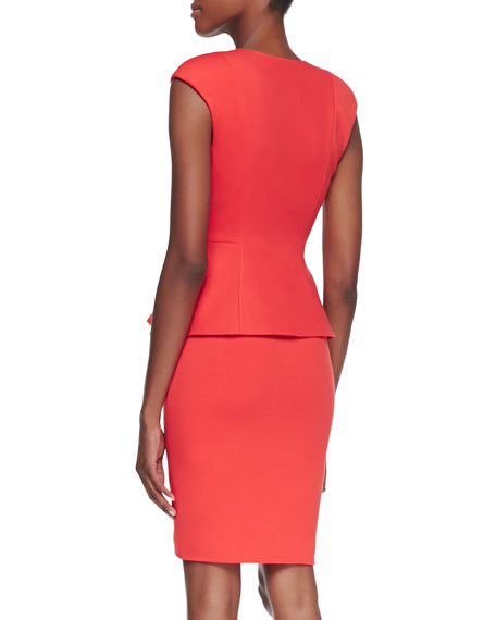 Jamthun Zip-Front Peplum Dress, Dark Orange