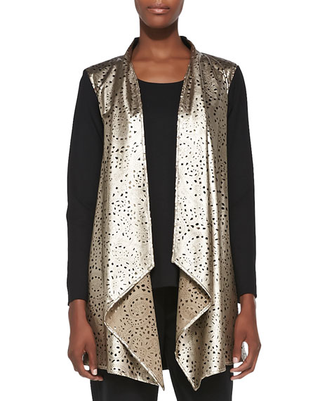 Laser-Cut Faux-Leather & Ponte Jacket