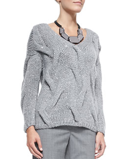 Lafayette 148 New York V-Neck Cashmere-Blend Cable Sweater