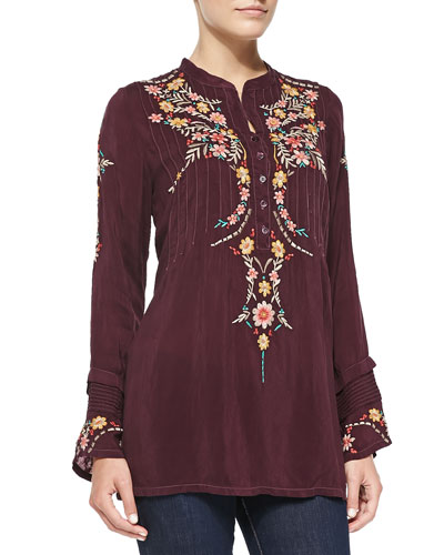 Johnny Was Collection Boston Embroidered Long-Sleeve Tunic