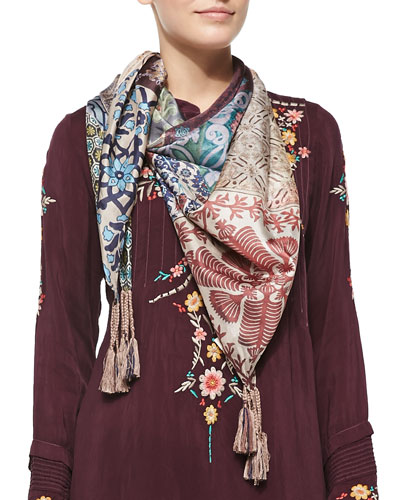 Johnny Was Collection Tile-Print Silk Scarf
