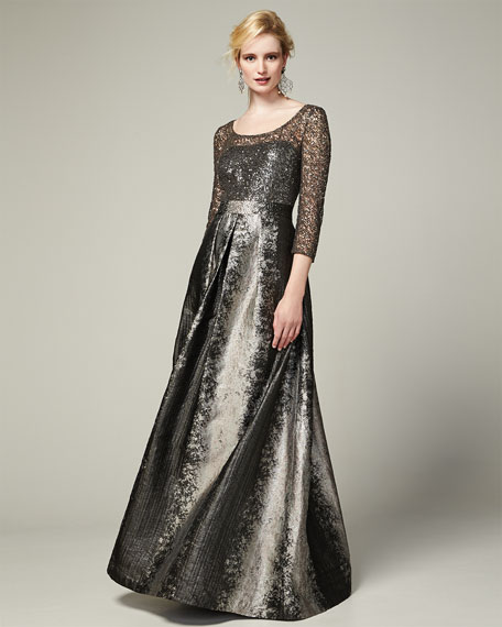 Long-Sleeve Beaded Lace-Bodice Gown