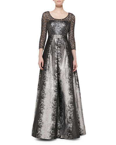 Kay Unger New York Long-Sleeve Beaded Lace-Bodice Gown