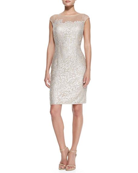 Cap-Sleeve Lace Overlay Cocktail Sheath Dress