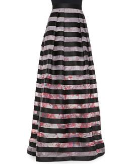 Kay Unger New York Floral-Print Striped Ball Skirt