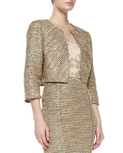3/4-Sleeve Cropped Tweed Jacket