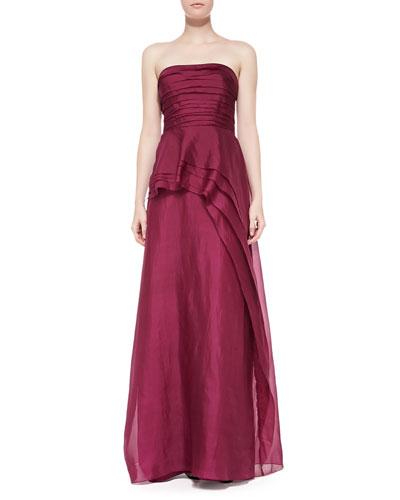 Kay Unger New York Strapless Asymmetric Peplum Gown