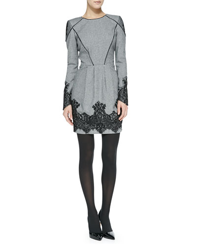 Carlotta Long-Sleeve Tweed Sheath Dress with Calf Fur Piping