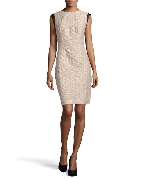 Cosette Jacquard Faux-Leather Trimmed Dress, Khaki
