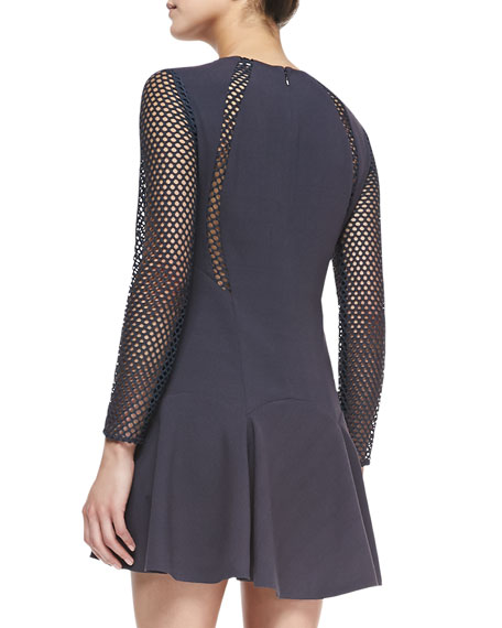 Mesh-Detail Pleated Dress, Stormy Gray