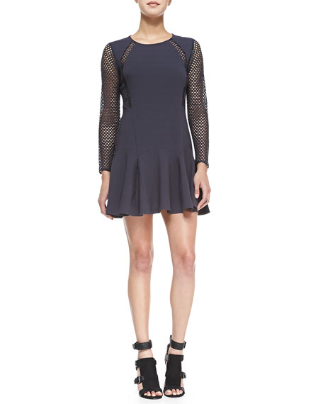Rebecca Taylor Mesh-Detail Pleated Dress, Stormy Gray