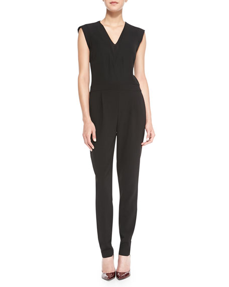 Rebecca Taylor Jersey Double V-Neck Jumpsuit