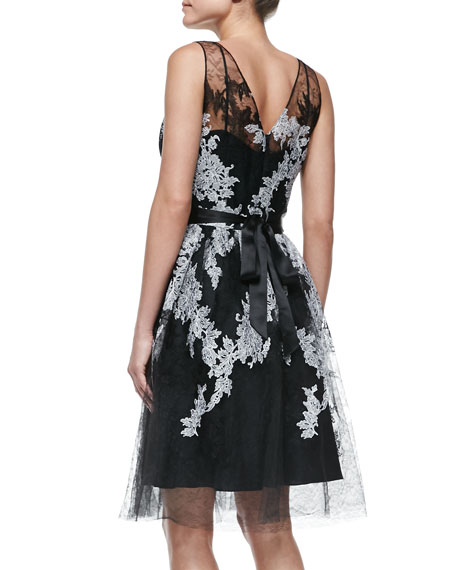 Sleeveless Illusion Floral Cocktail Dress