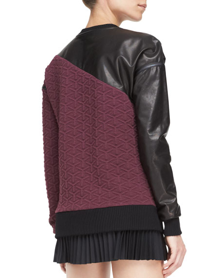 Leather-Detail Quilted Sweatshirt