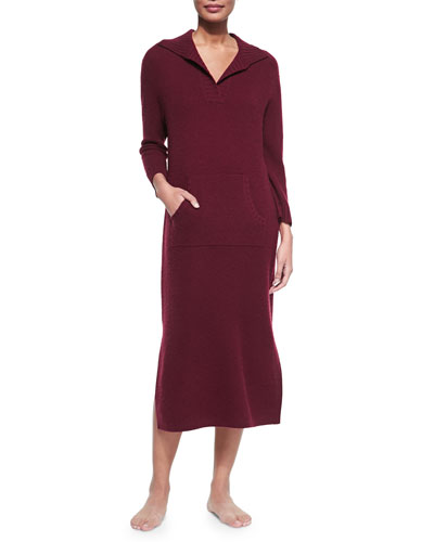 Neiman Marcus Cashmere Sweaterdress with Kangaroo Pocket