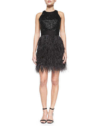 Blair Sleeveless Sequined & Feather Dress