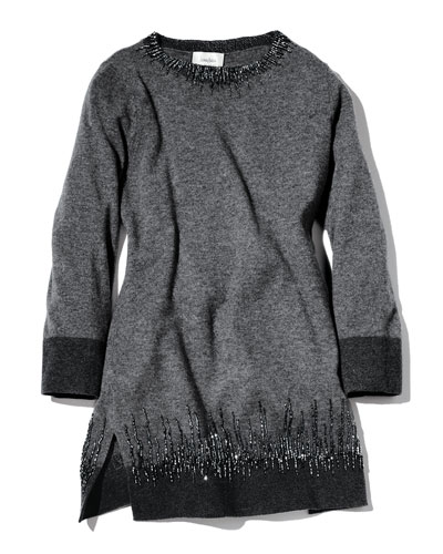 Neiman Marcus Long Cashmere Sweater with Beading Detail