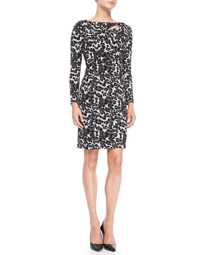 Kay Unger New York Printed Dress with Slash Detail