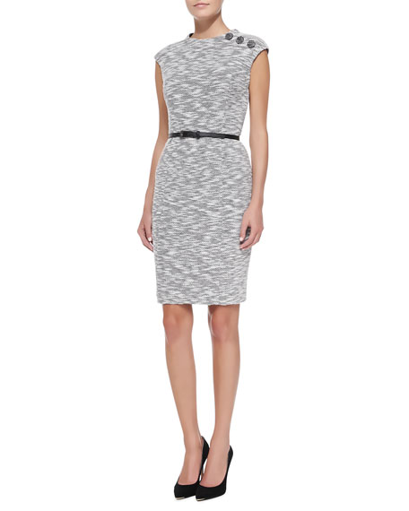 Kay Unger New York Cap-Sleeve Button-Shoulder Sheath Dress