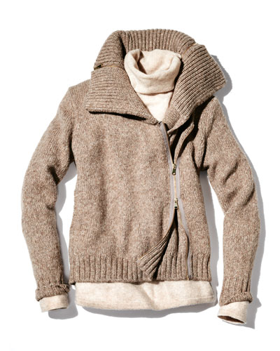 Christopher Fischer Ledella Knit Two-Way Zip Moto Jacket