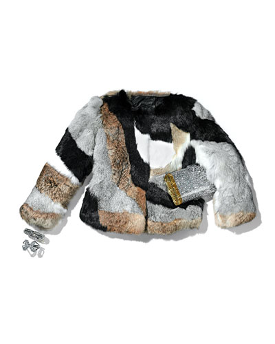 Trilogy Patchwork Rabbit Fur Jacket