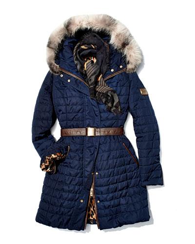 Gorski Apres-Ski Fur-Trim Belted Jacket