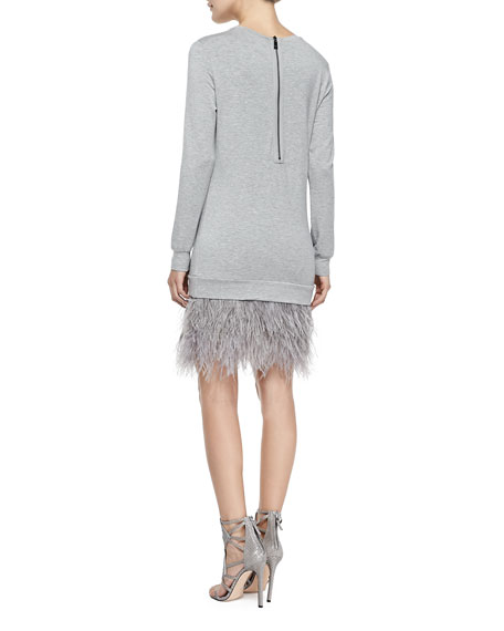 Feather-Bottom Sweatshirt Dress