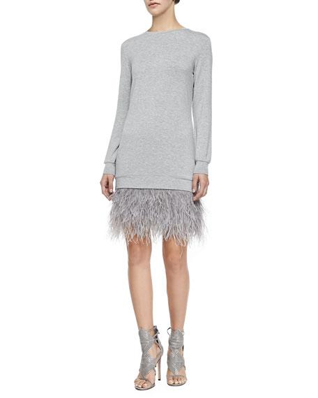 Feather-Bottom Sweatshirt Dress