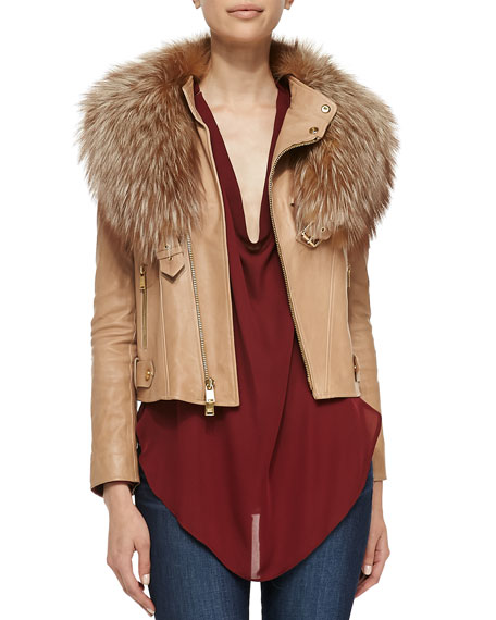 Leather Fur-Collar Jacket