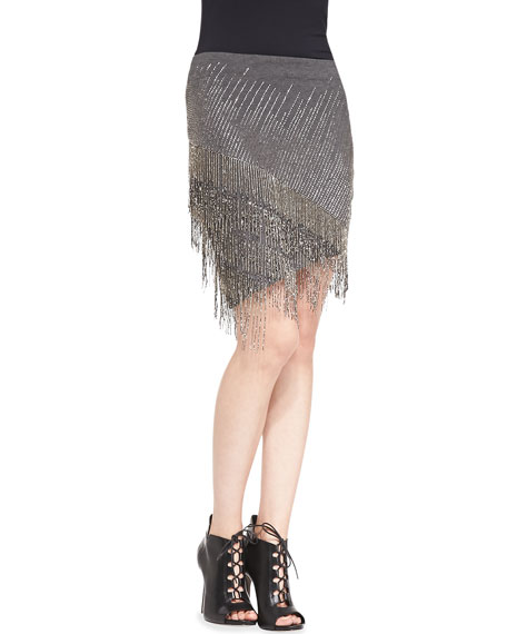Beaded-Fringe Ponte Skirt