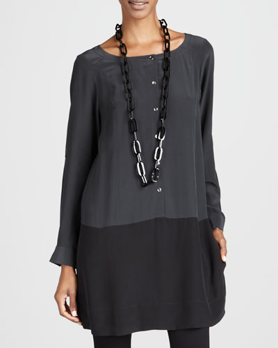 Silk Colorblock Tunic, Petite