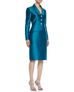 Albert Nipon Peplum Skirt Suit Set with Jeweled Buttons