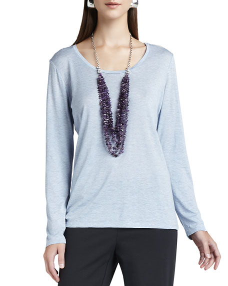 Eileen Fisher Long-Sleeve Jersey Tee, Petite