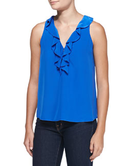 Joie Rissa Ruffled Sleeveless Blouse