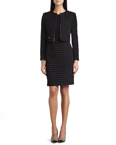 Albert Nipon Large Houndstooth Sleeveless Dress & Jacket Set