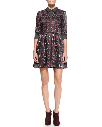 Troubadour The Fairchild Mixed-Print Satin Shirtdress