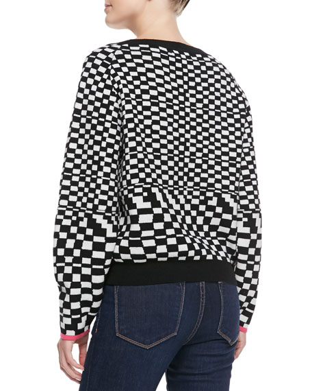 Mara Hoffman Checked Printed Knit Pullover Sweater