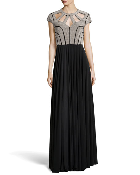 Roza Beaded Cutout Gown, Black