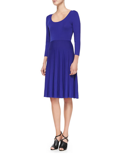 Carmen by Carmen Marc Valvo Mixed-Ribbing Jersey Dress